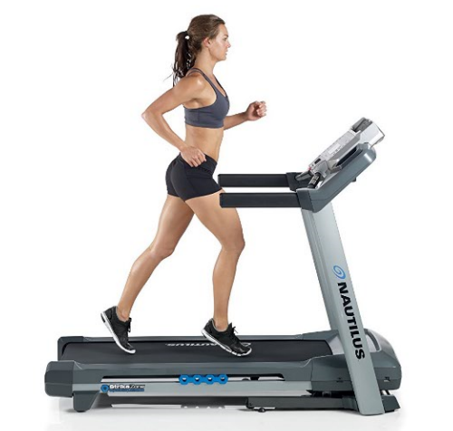 Woman running on Nautilus T614 Treadmill