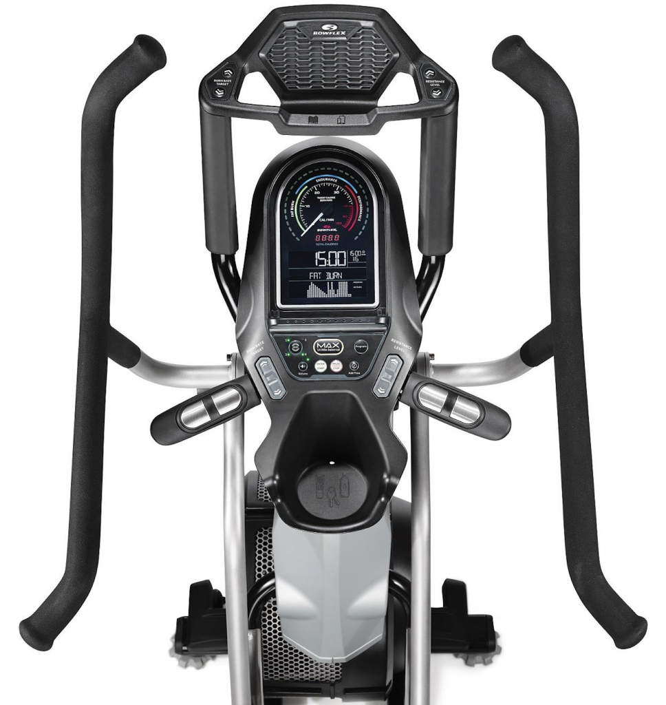 look from the top of bowflex max trainer m7 showing display and user interface